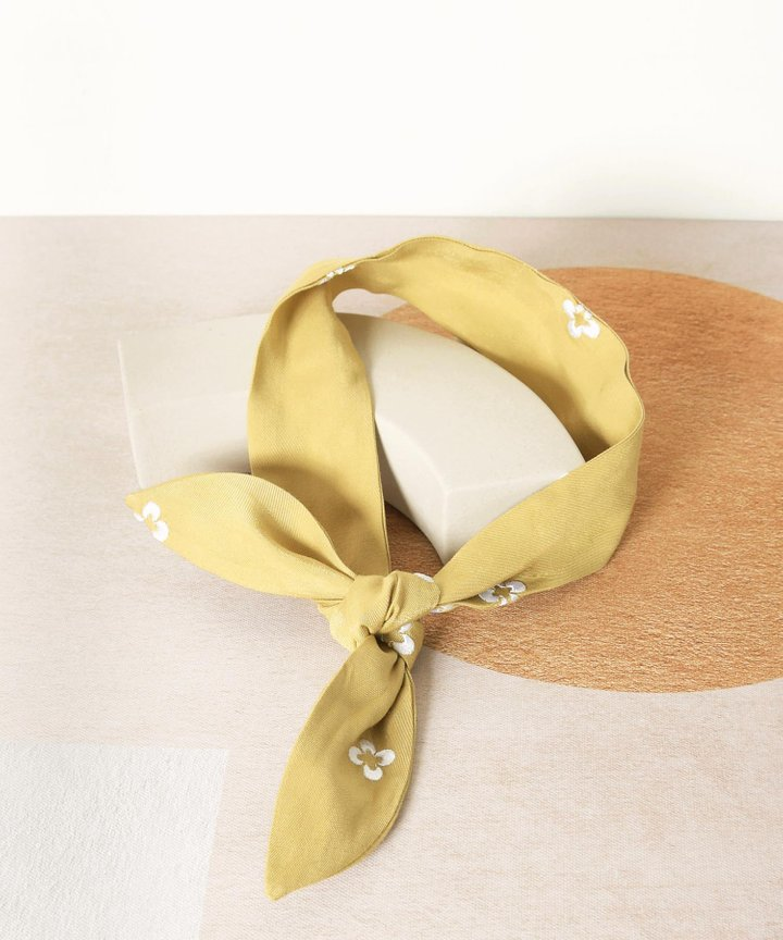 Memento Embroidered Hair Tie - Olivette