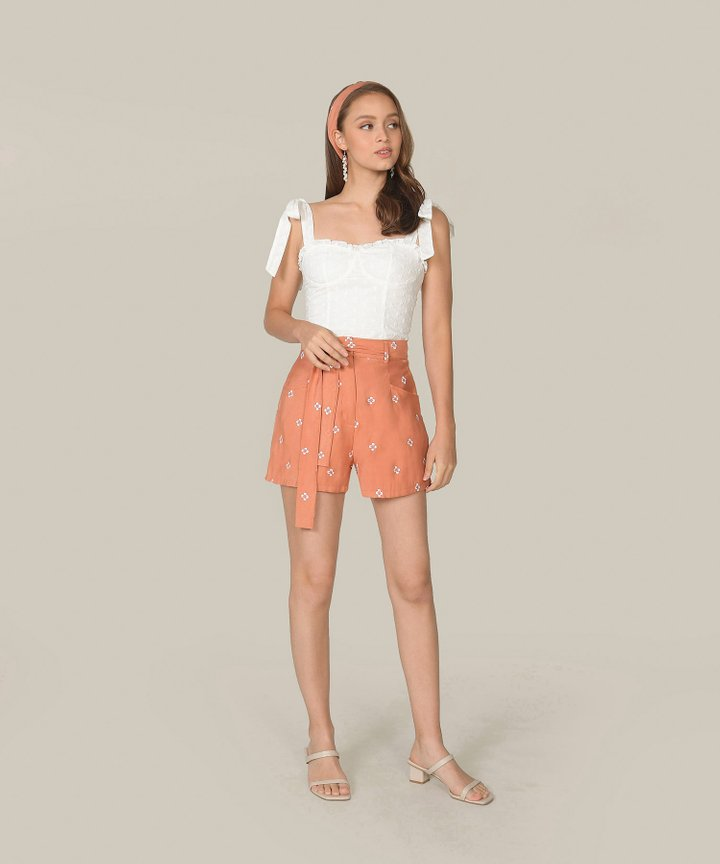 Memento Embroidered Shorts - Coral Pink
