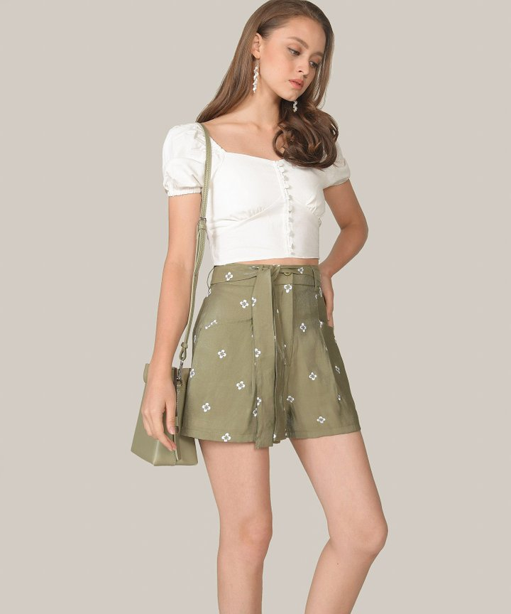 Memento Embroidered Shorts - Olive