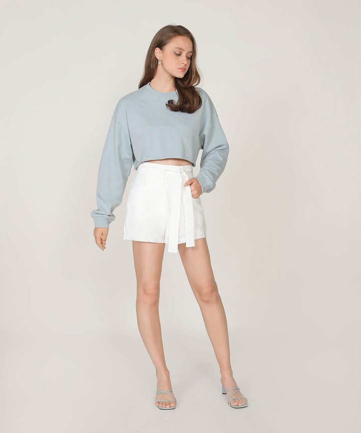 Elodie Belted Shorts - White (Restock)