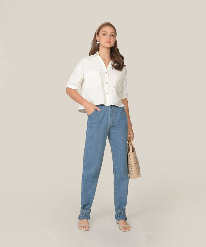 Rio High-Waisted Cuffed Ankle Jeans