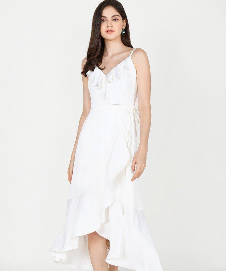 Alexis Ruffle Overlay Maxi Dress - White