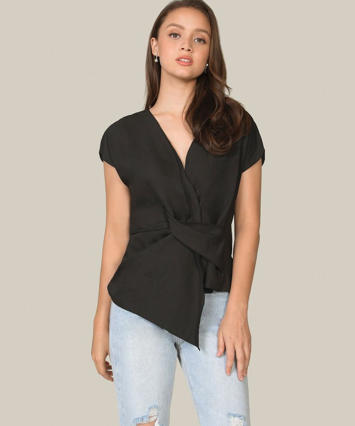 Alma Knot Blouse - Black