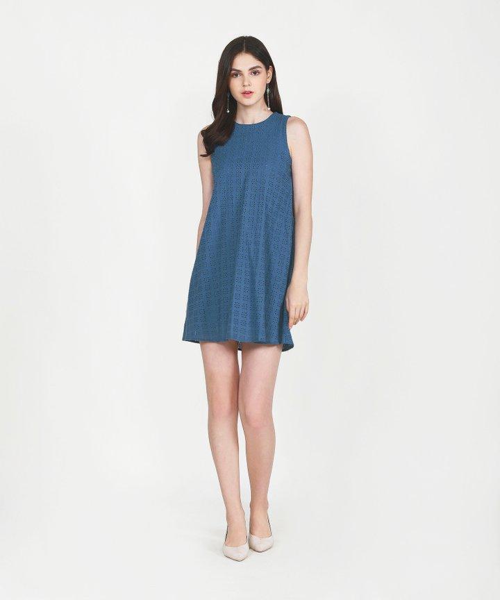 Basque Eyelet Shift Dress - Steel Blue