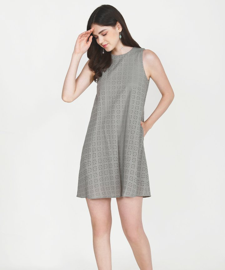 Basque Eyelet Shift Dress - Stone Grey