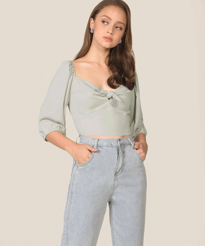 Beverly Cropped Blouse - Sage Grey