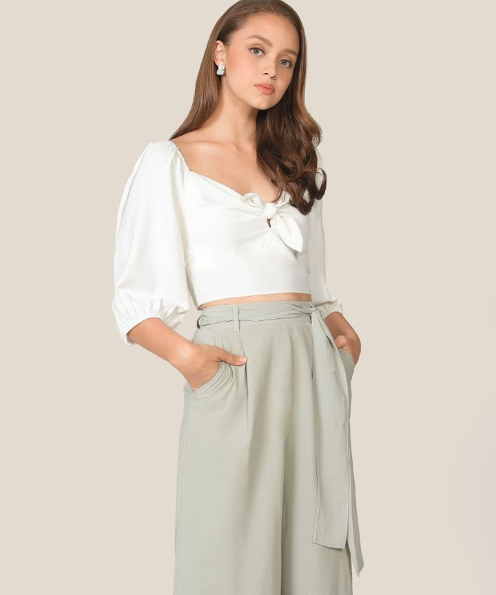 Beverly Cropped Blouse - White