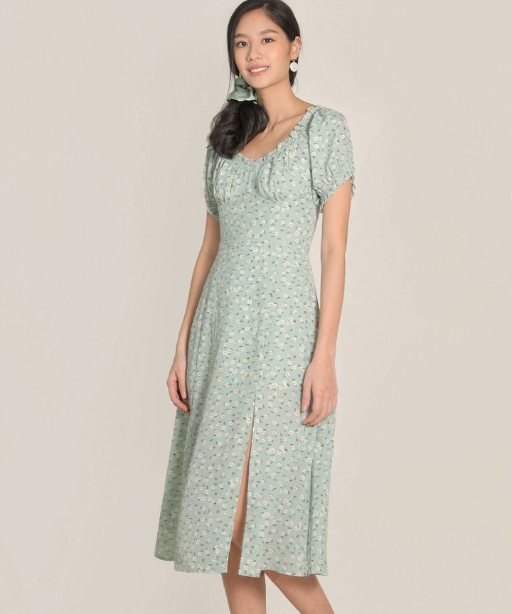 Bijou Floral Midi Dress - Pale Seafoam (Backorder)