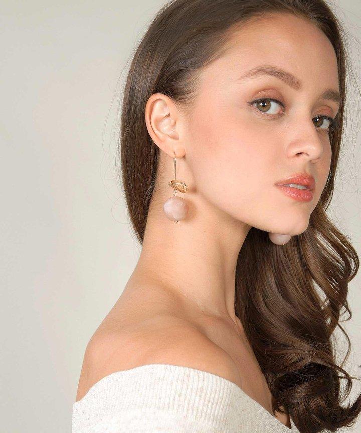 Emmett Ball Drop Earrings - Blush