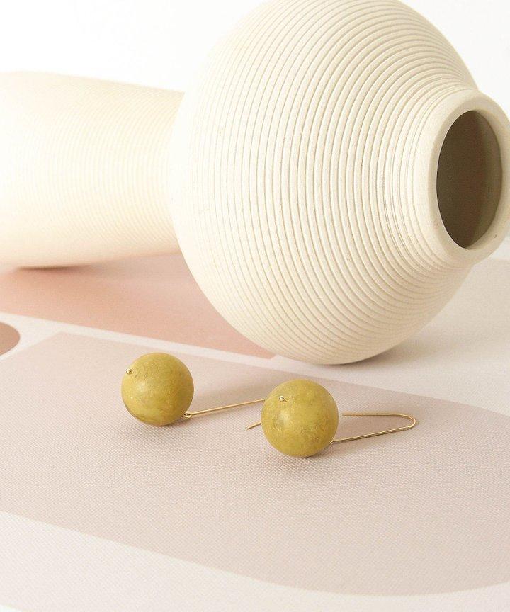 Emmett Ball Drop Earrings - Olive