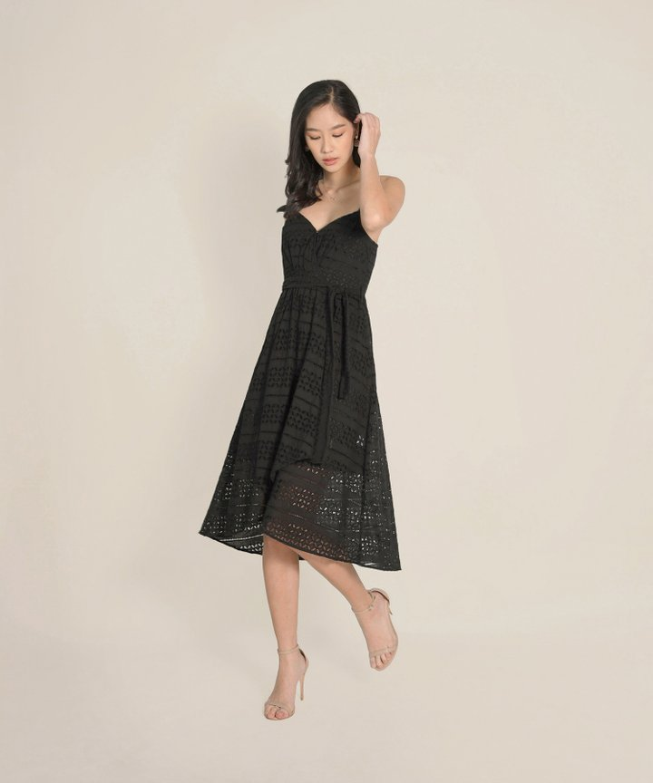 HVV Atelier Odette Eyelet Overlay Dress - Black