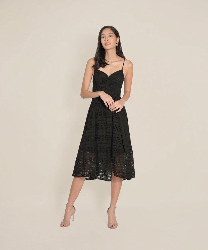 HVV Atelier Odette Eyelet Overlay Dress - Black