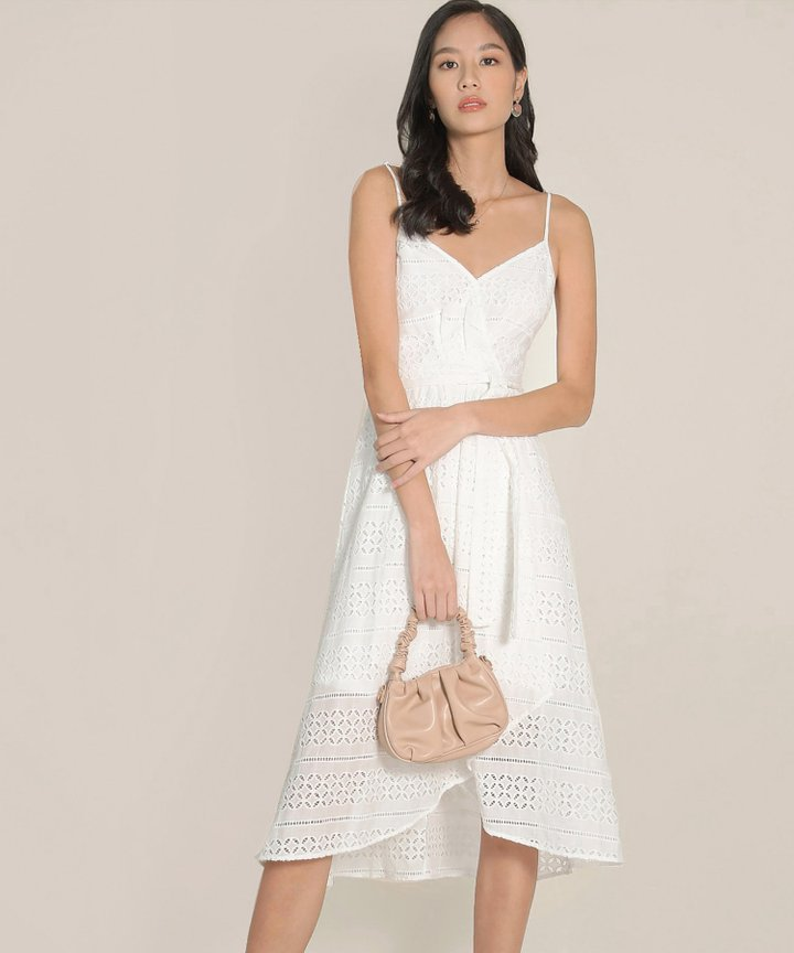 HVV Atelier Odette Eyelet Overlay Dress - White