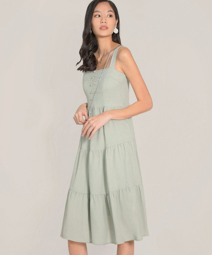 Maje Gathered Midi Dress - Pale Seafoam