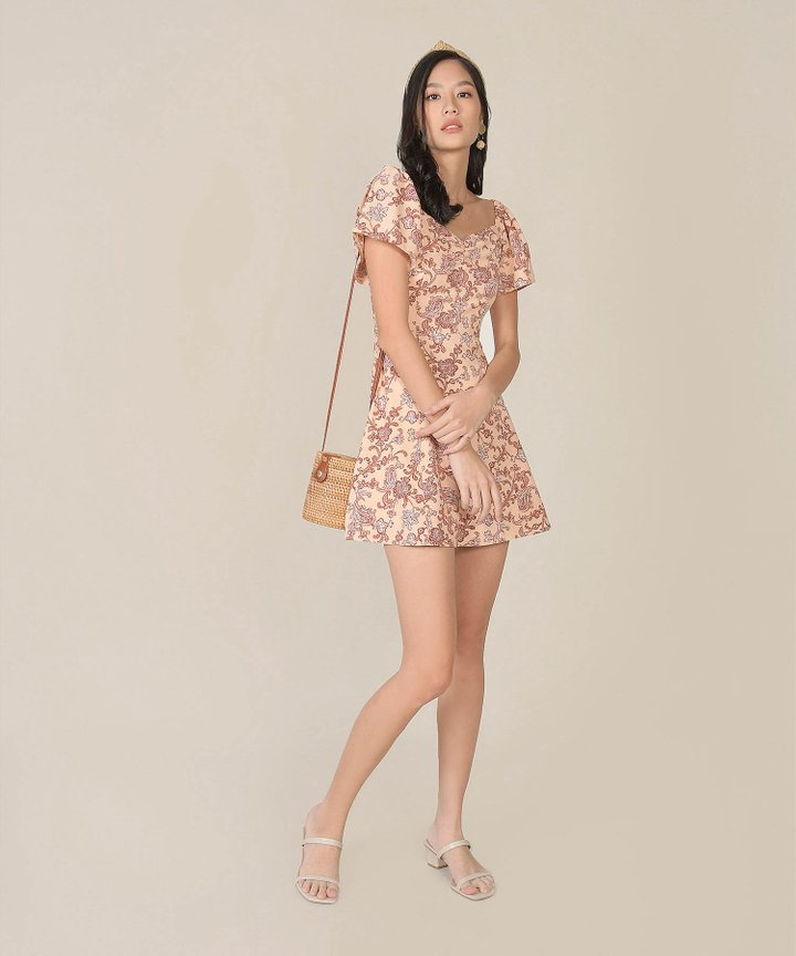 Marisol Paisley Floral Dress - Peach Pink