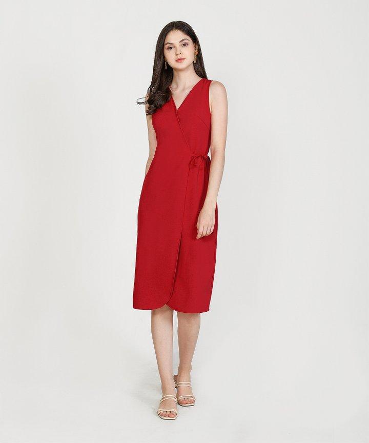Matisse Overlay Midi Dress - Scarlet