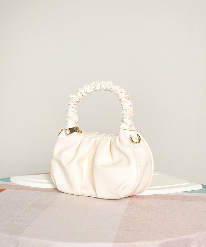 Potpourri Ruched Handle Purse - Cream
