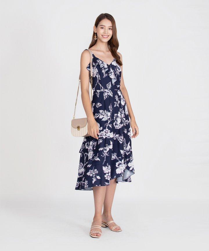 Savannah Printed Ruffle Midi Dress - Navy