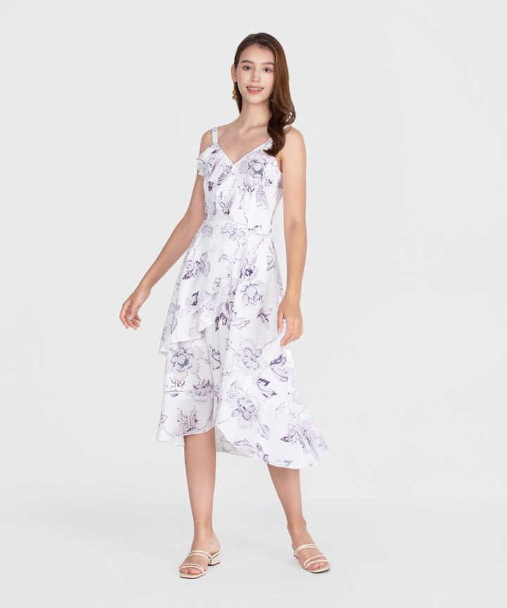 Savannah Printed Ruffle Midi Dress - White