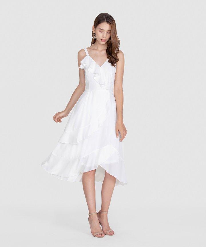 Savannah Ruffle Midi Dress - White