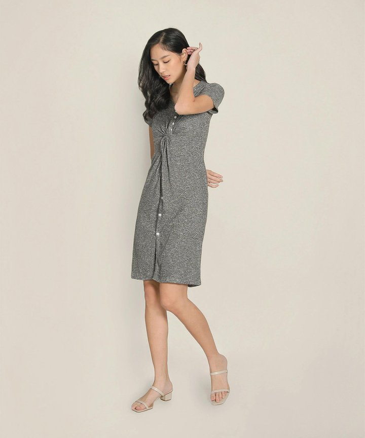 Thistle Twist-front Knit Midi