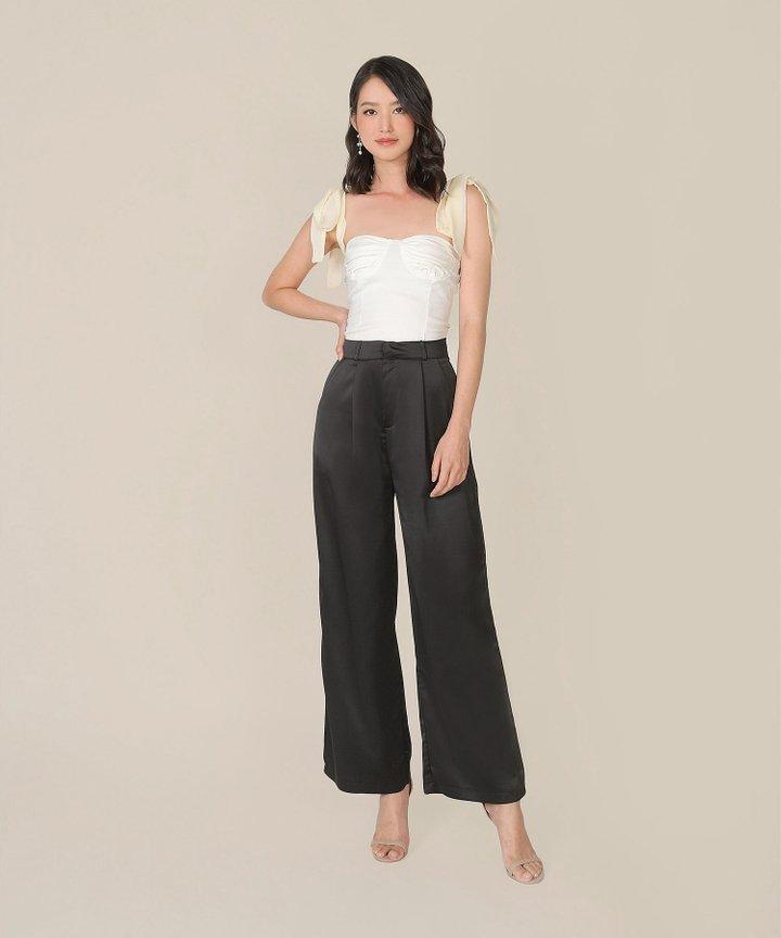 Gisele Satin Wide Leg Pants - Black