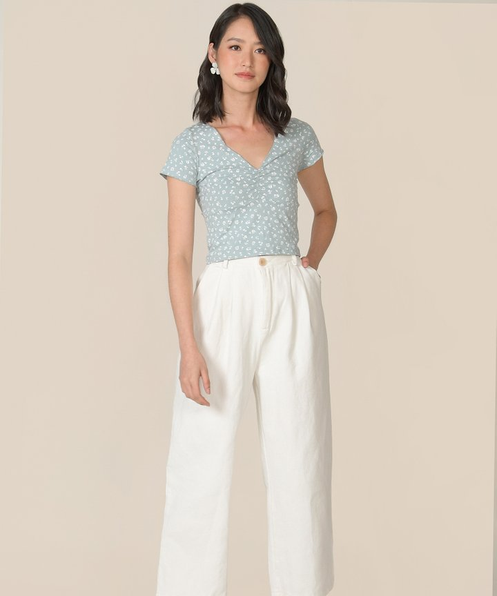 Blossom Floral Ruched Tee - Pale Blue