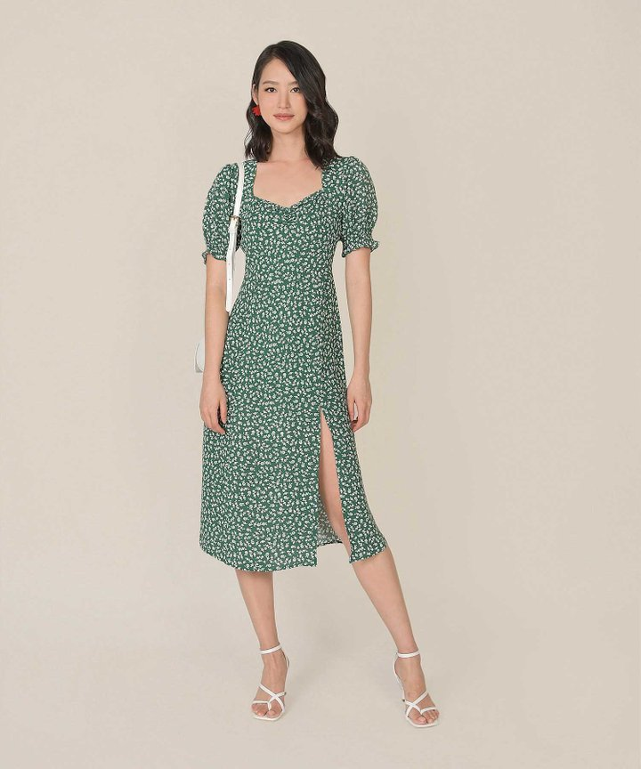 Catalina Floral Slit Midi Dress - Forest Green (Backorder)