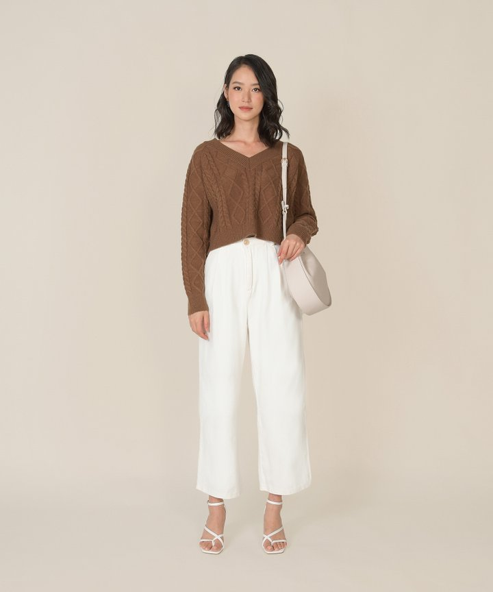 Posse Cable Knit Cropped Sweater - Chocolate