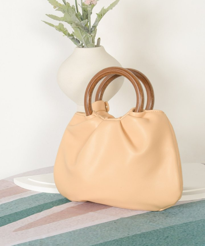 Affogato Wooden Handle Bag - Pale Marigold