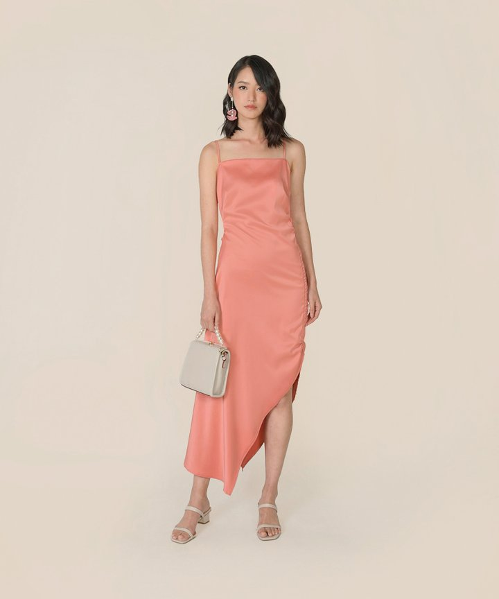 Amandine Satin Gathered Dress - Coral
