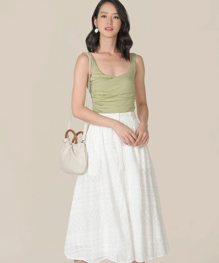 Antaara Ruched Cropped Top - Matcha
