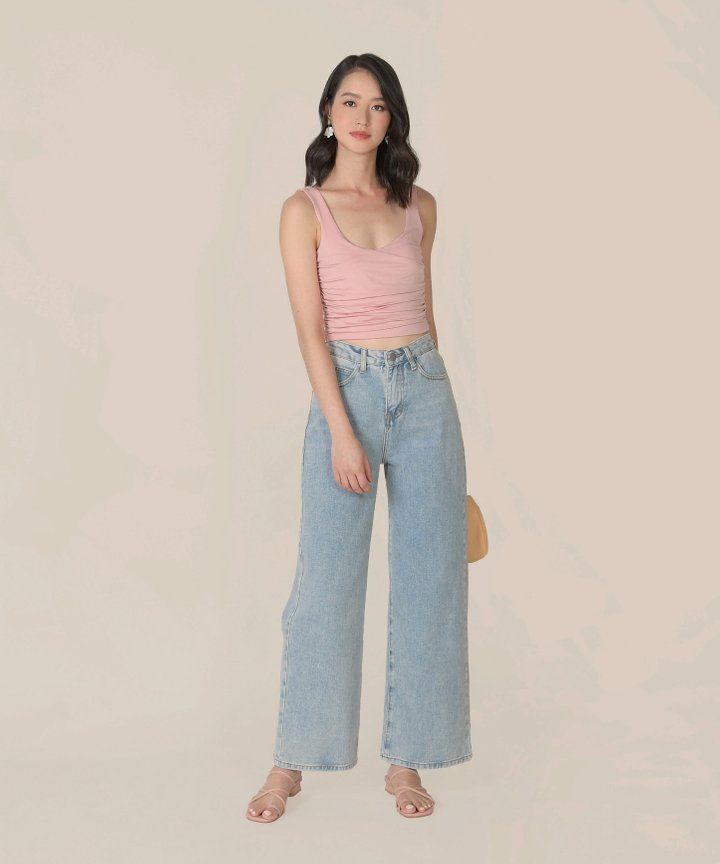 Antaara Ruched Cropped Top - Pink Lemonade