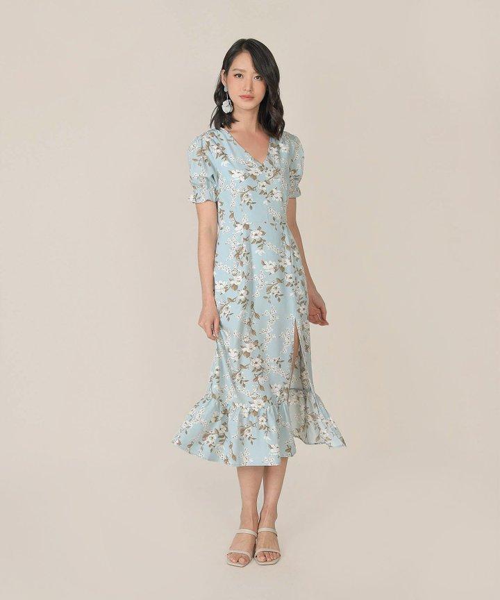 Azure Floral Mermaid Midi Dress - Pale Blue