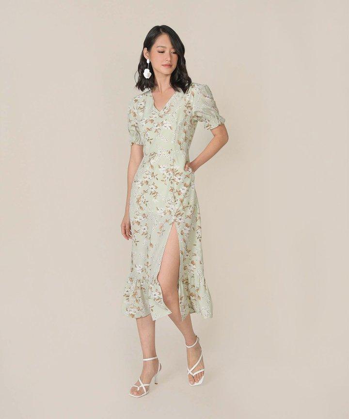 Azure Floral Mermaid Midi Dress - Pale Pistachio