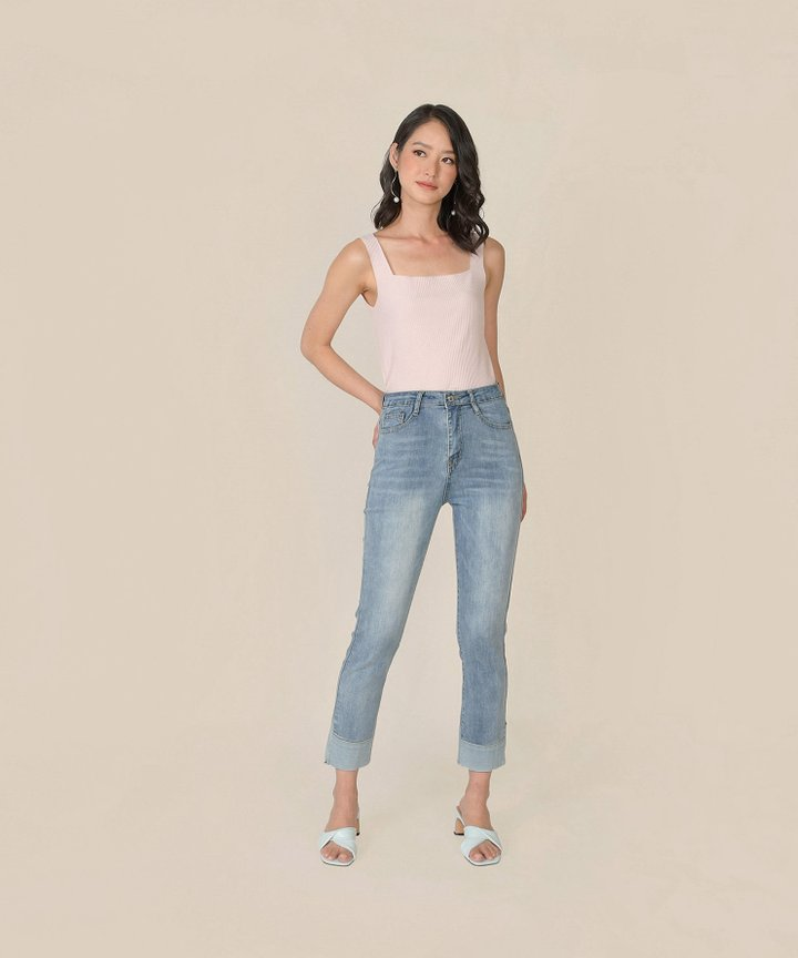 Bambino Contrast Cuff Jeans - Light Blue