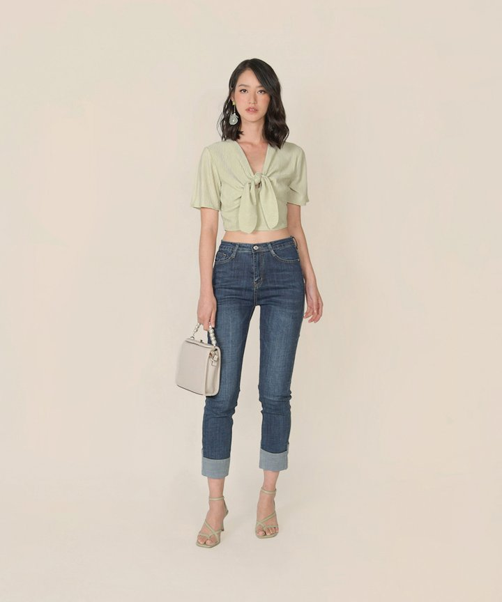 Florentine Tie-Front Cropped Top - Willow Green