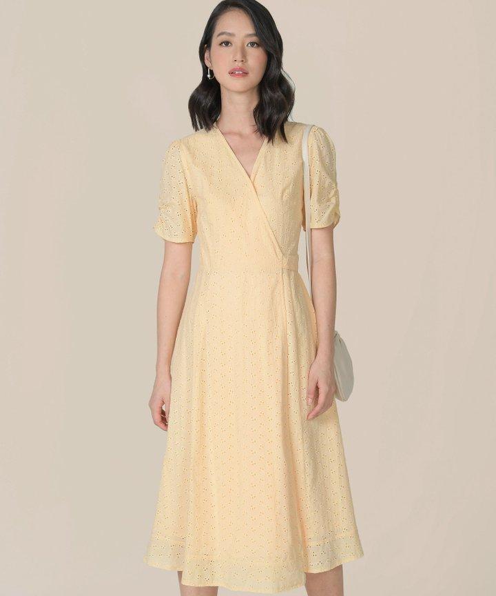 HVV Atelier Ananya Eyelet Wrap Midi Dress - Buttermilk (Backorder)