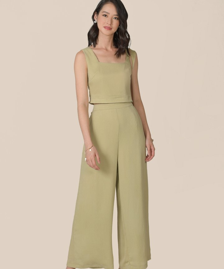 Kailua Plisse Cropped Top - Pale Chartreuse