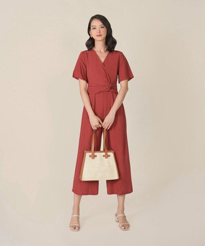 Kinsella Knotted Wrap Jumpsuit - Dust Crimson