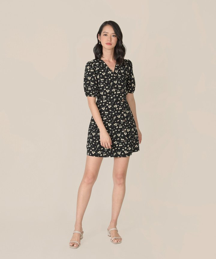 Mimette Floral Wrap Dress - Black