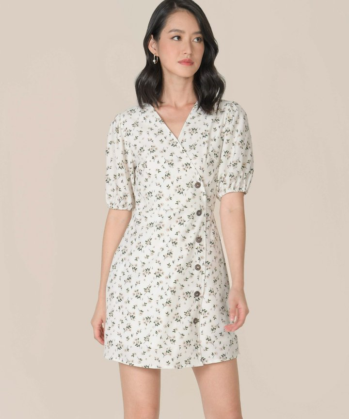 Mimette Floral Wrap Dress - White