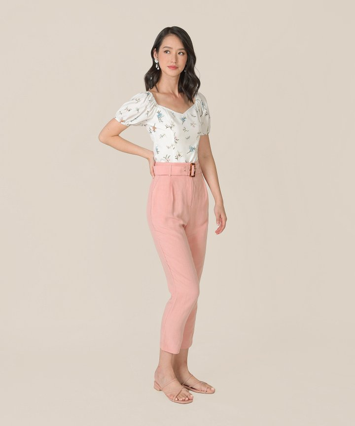 Mirador High-Waist Belted Trousers - Blush