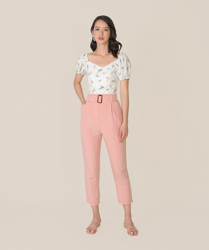 Mirador High-Waist Belted Trousers - Blush