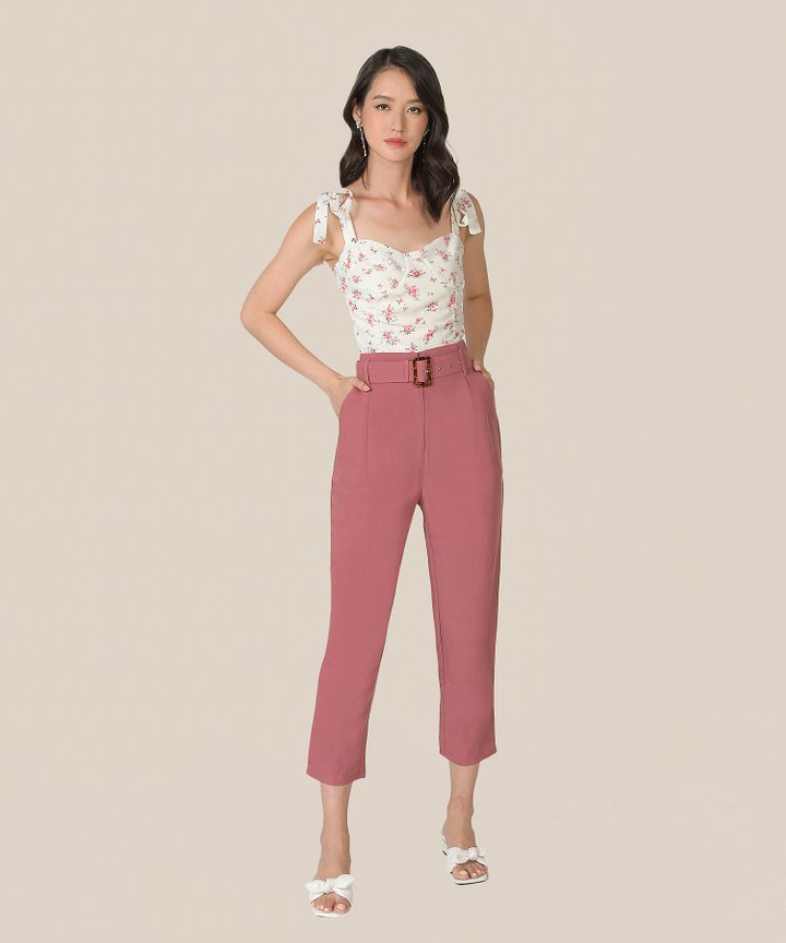 Mirador High-Waist Belted Trousers - Raspberry