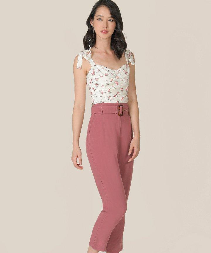Mirador High-Waist Belted Trousers - Raspberry
