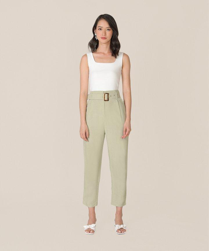 Mirador High-Waist Belted Trousers - Sage
