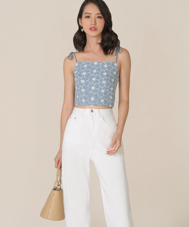 Prism Floral Embroidered Top - Cornflower Blue