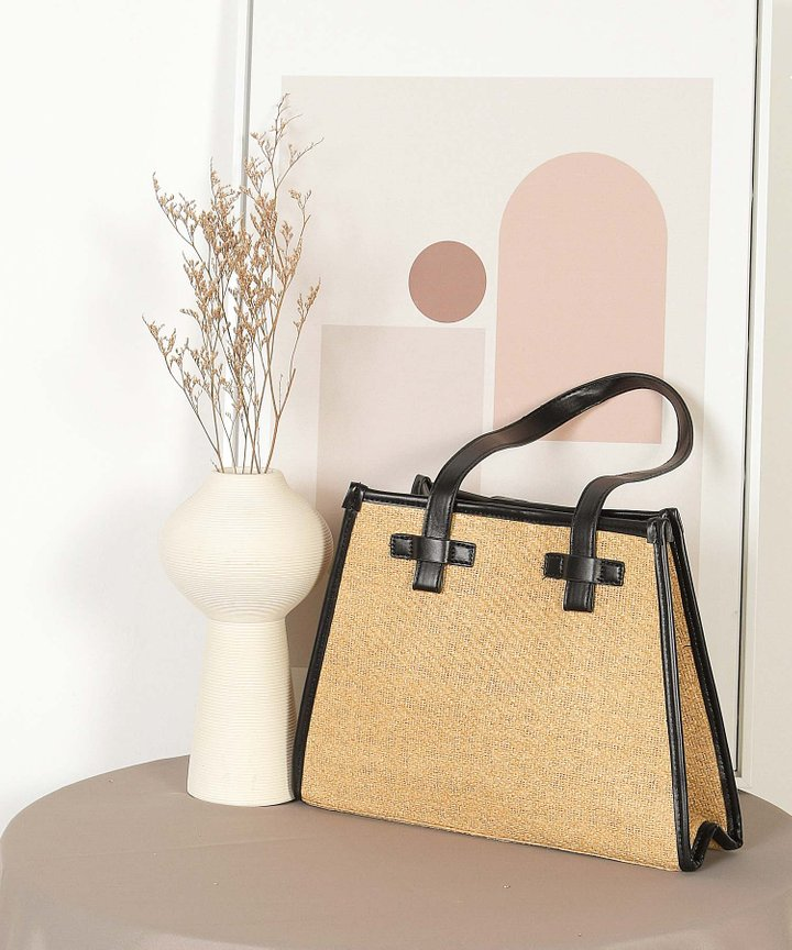 Seasalt Straw Tote Bag - Licorice (Backorder)
