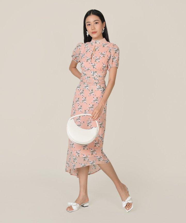 Anelise Floral Asymmetrical Midaxi Skirt - Pink Quartz